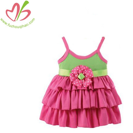 Baby Girl's Pink Flower Cake Dress