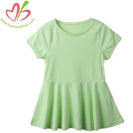 100%Cotton Solid Color Girls Ruffle Dress