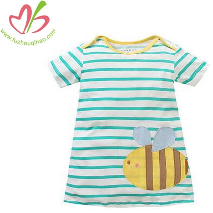 Girl's Summer Stripe T-shirt With Cute Bee Applique