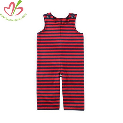 Red/Black Stripe Baby Boy's Romper