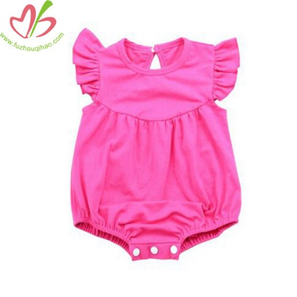 Solic Color Flutter Sleeves Girl's Onesie