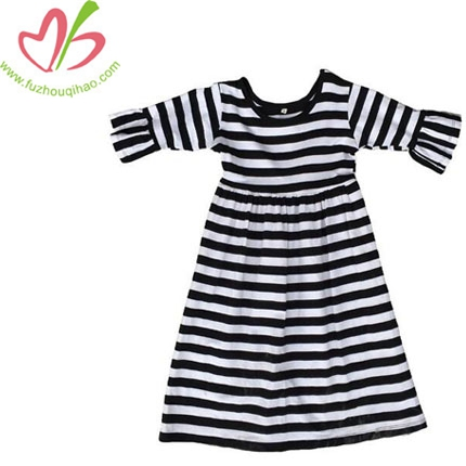 Baby Girl 3/4 Sleeve Black&White Stripe Dress