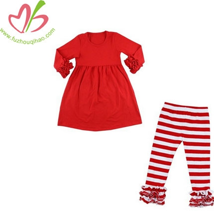 Girl's 2pcs Set Red Top &Stripe Ruffle Pants