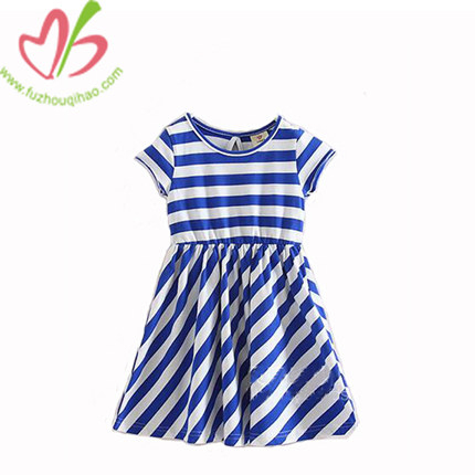 Blue White Stripes Summer Girl Dress, Girl Fashion Design