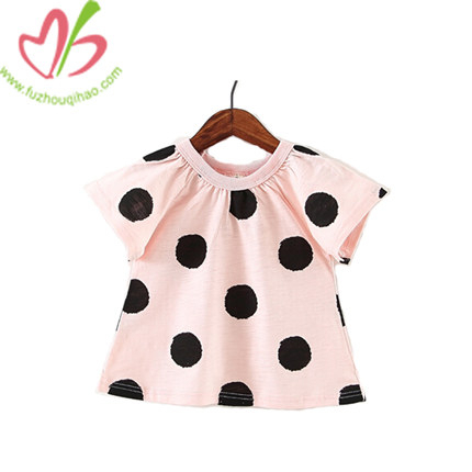 Fashion Summer Girl Tee Shirt with Dot Printing