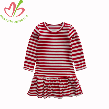 Red white stripes Long Sleeves Girl Dress With Ruffles