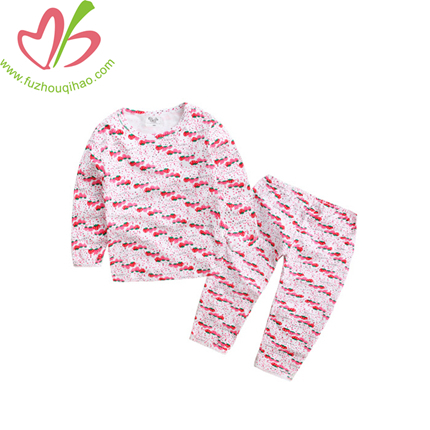 Full Printing Long Sleeves Girl Pajamas, Cute Girl Sleeping Wear
