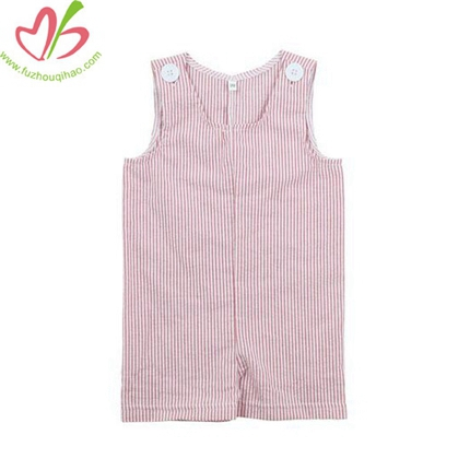 Stripe Seersucker Design Cotton Boy's Romper