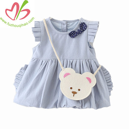 Plain Fabric Girl Dress with Cute Packet, Summer Girl Skirt