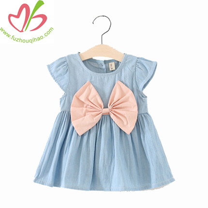 Hotsale Cute Summer Girl Denim Skirt, Girl Jean Dress with Butterfly