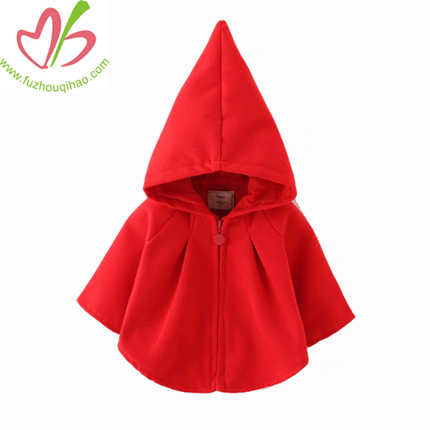 Cute Little Red Girl Jacket, Girl Overcoat, Girl Cloak with Hat