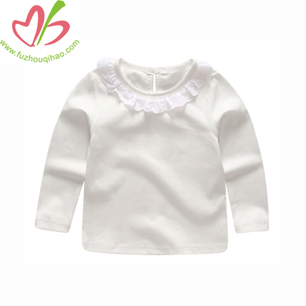 Long Sleeves Round Neck Girl Tops, Girl Tee Shirt with Small Ruffles