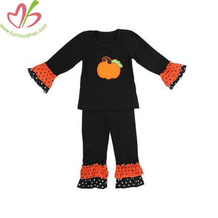 Pumkin Applique Black Girl's Holiday Outfit Sets