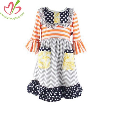 3/4 Sleeve Bibs Girl's Dress