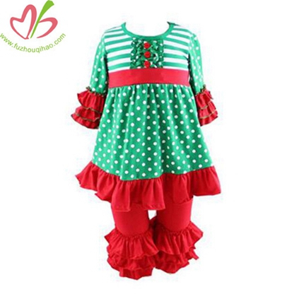 3/4 Sleeves Christmas Triple Ruffles Clothing Set