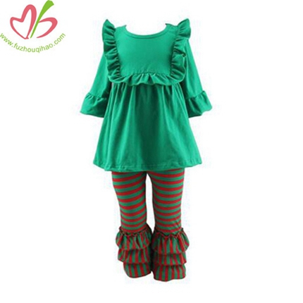 Green Bibs Blouse with Triple Ruffles Pants