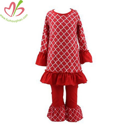 Red Diamond Print Girl's Clothes Set