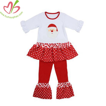 Snowman Applique Girl's Tunic Clothes Sets
