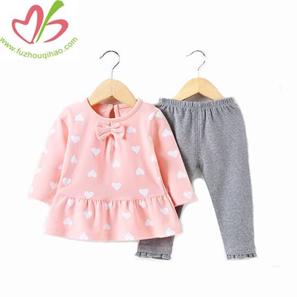100% Cotton Girl Dress Top and Pant Set, Girl Clothes Set, Winter Clothes Sets