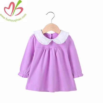 100% Cotton Long Sleeves Girl Dress With Ruffles