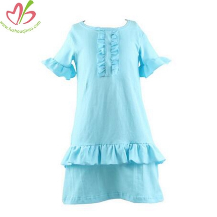 Solid Aqua Girl's Sewing Dress