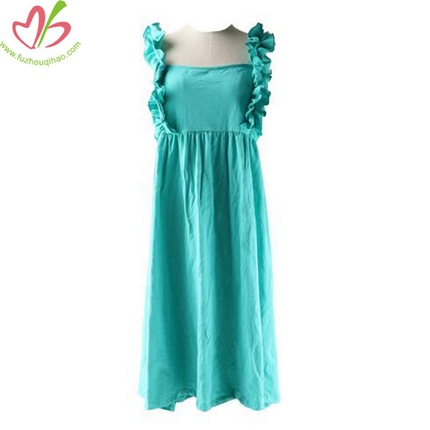 Solid Color Strap Ruffles Dress for Kids Boutique