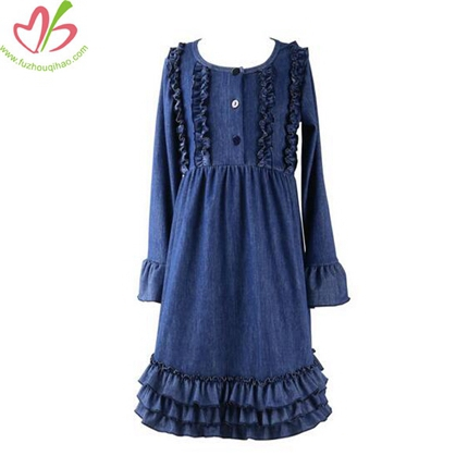 100% Cotton Demin Dress with Multi Ruffles on Bottom