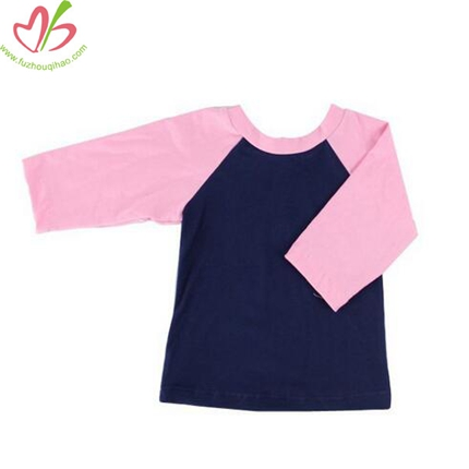 Pink Raglan Sleeves Girls' Long Sleeves Tshirt