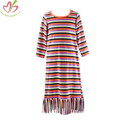 Tassels Design Stripe Girl's Dress