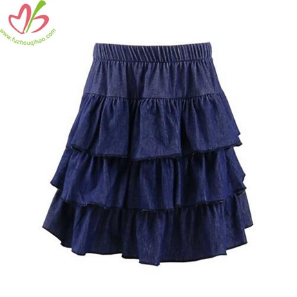 Demin Girls Triple Ruffle Skirt