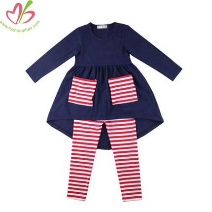 Navy and Red Special Design Girl's Blouse Legging Set