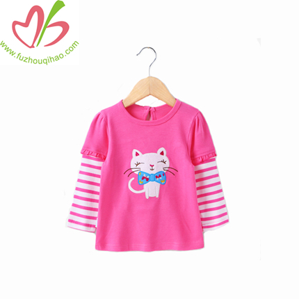 Custom Cotton Long Sleeve Sweet Kids Beautiful Printed Girls T shirt