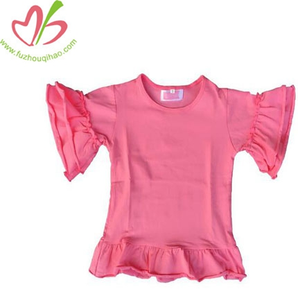 Baby Girl Plain Pink Solid Color Cotton Kids Ruffle Cuff Shirts