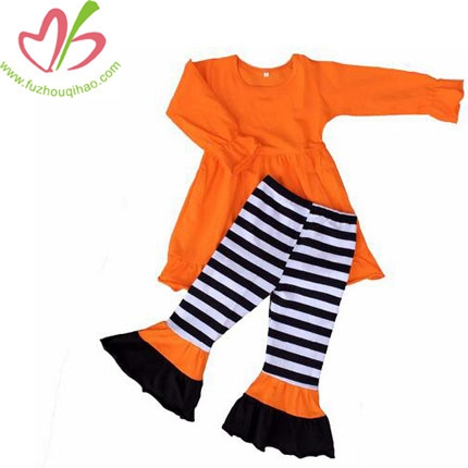 Baby Girls Lovely Cotton Solid Ruffle Shirt&Stripe Ruffle Pants