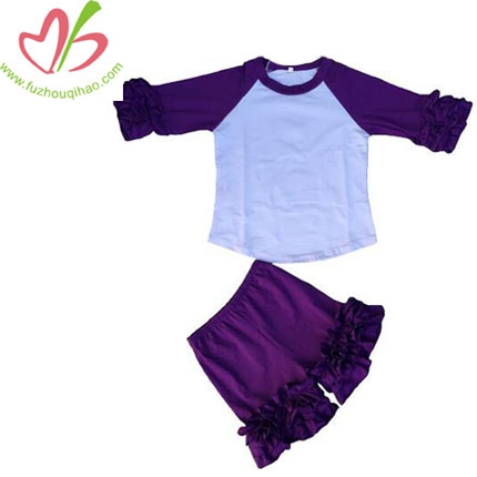 Baby Girls Ruffle Cuff Shirt&Ruffle Short Pants Sets