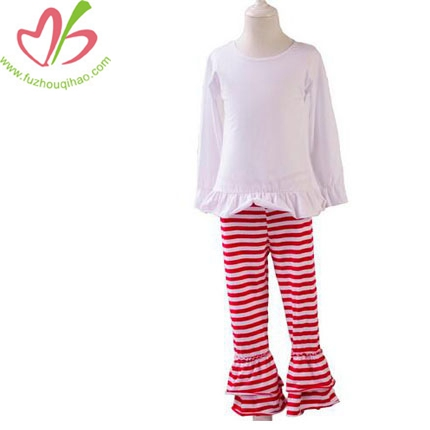 Baby Girls Set Ruffle Shirt&Stripe Pants Pajamas Suit