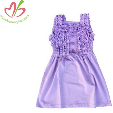 Baby Girl Cotton Ruffle Dress Girls Button Dress Child Solid Ruffle Sleeveless Dress
