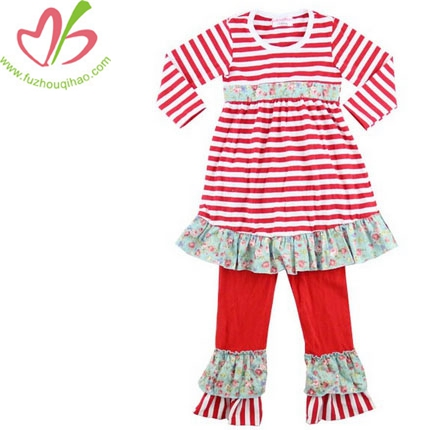 Girls Red Striped Long Sleeves Ruffle Dress Cotton Pants Outfit