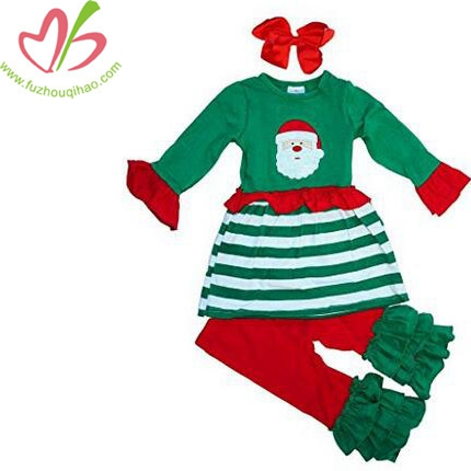 Girls Christmas Santa Clothing Set 3pc Scarf Outfit
