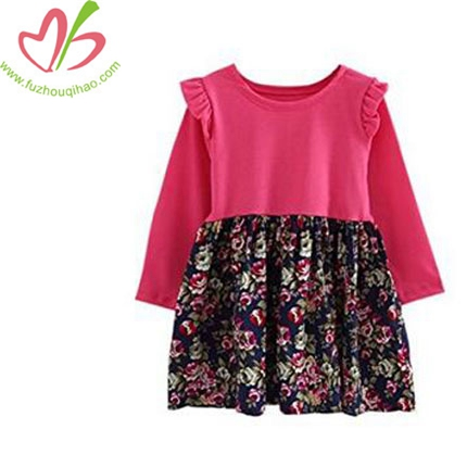 Girls Casual Dress Long Sleeve Belt Floral Print One Piece Dress