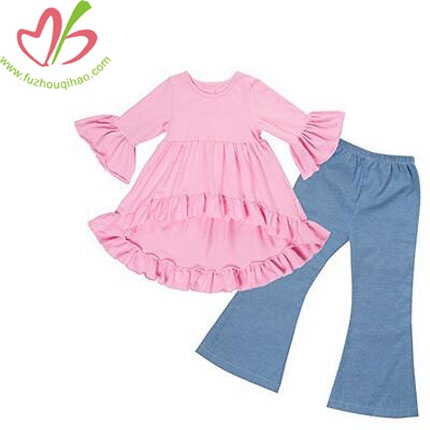 Girls Clothes Jeans Outfit Kids Ruffle Shirts Boutique Bell Pants Set