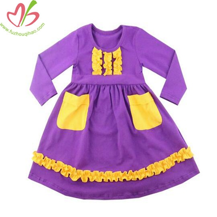 Purple Kids' Dress with Ruffles on bottom