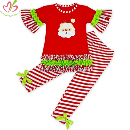 Girl's Christmas Red Ruffle Top and Leggings