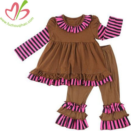 Girls Striped Knit Cotton Clothing Sets