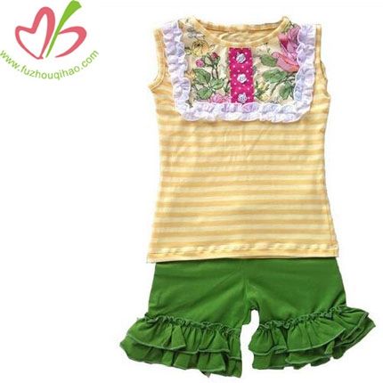 Hot Sale Cotton 2 Pcs Baby Outfits Ruffles