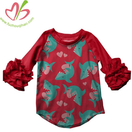 Girls Red Blue Shark Print Clothes Ruffle Long Sleeve Clothes