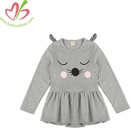 Baby Girls Long Sleeve Cartoon Cat Princess Party Dress