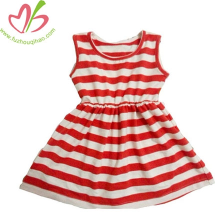 Summer Girls Striped Dress Sleeveless Princess Style Clothes