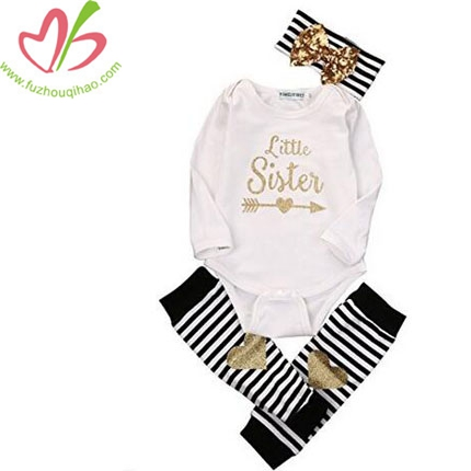 Newborn Baby Girls Romper Tops + Headband+Leg Warmer 3PCS Outfits Set