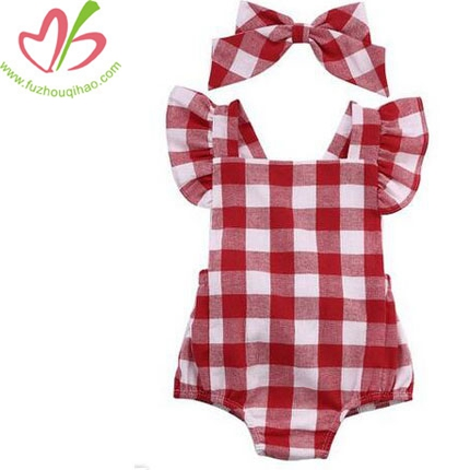 Newborn Infant Baby Girls Clothes Plaid Jumpsuit Bodysuit Outfits